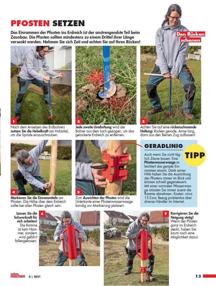 Aufbau eines Staketenzauns, Artikel im Magazin Selbermachen