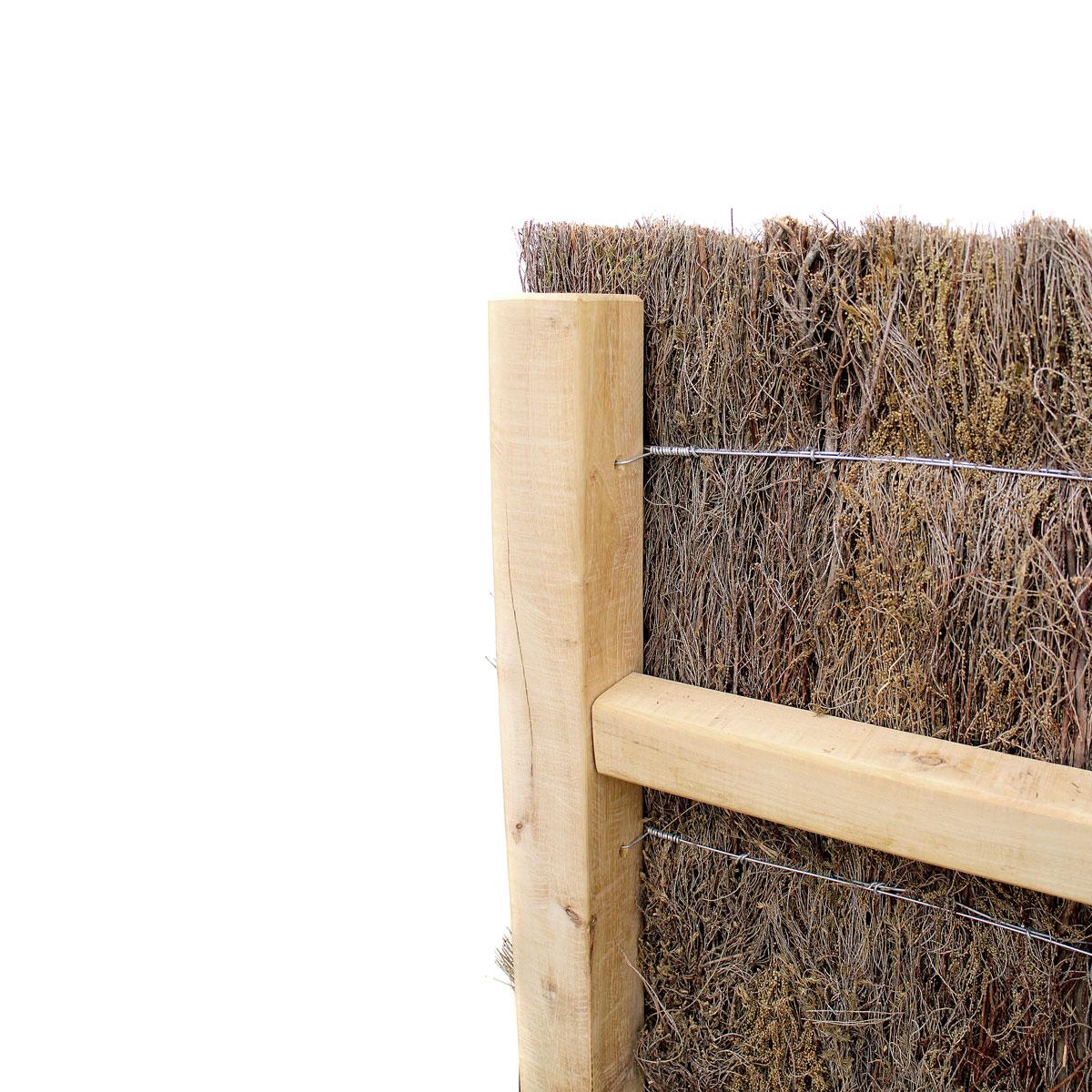 Robinienpfahl eckig für Haltekonstruktion Heidekraut-Sichtschutzzaun