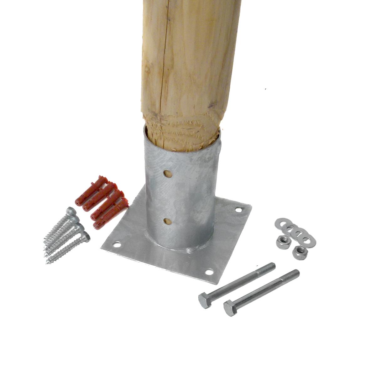 Holzpfahl mit Aufschraubhülsen