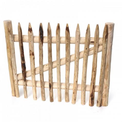 Gartentor Premium aus Staketen mit runden Kastanienhölzern in Rahmenbauweise gefertigt.